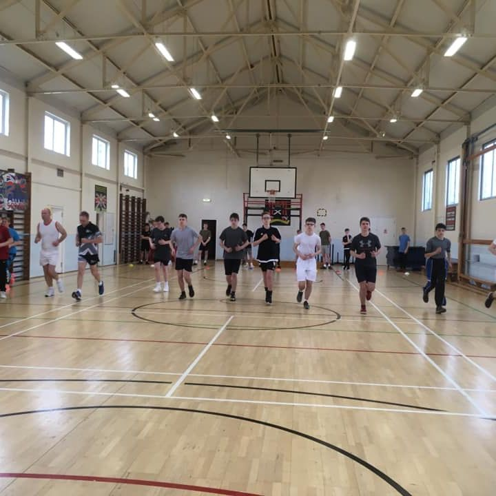 Cadet Ifan undertaking a Multi Stage Fitness Test (Bleep Test) with his classmates