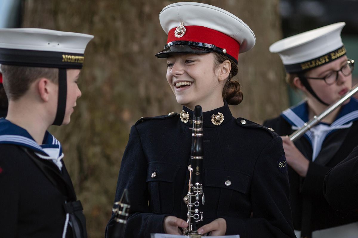 Boys and girls playing music for Sea Cadet Corps